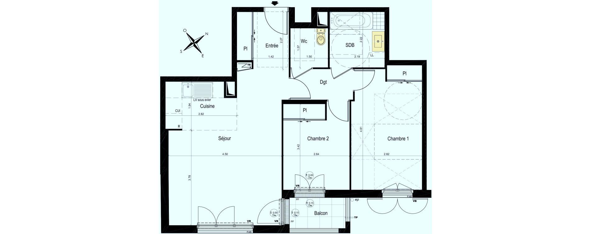 Appartement T3 de 64,26 m2 au Plessis-Bouchard Centre