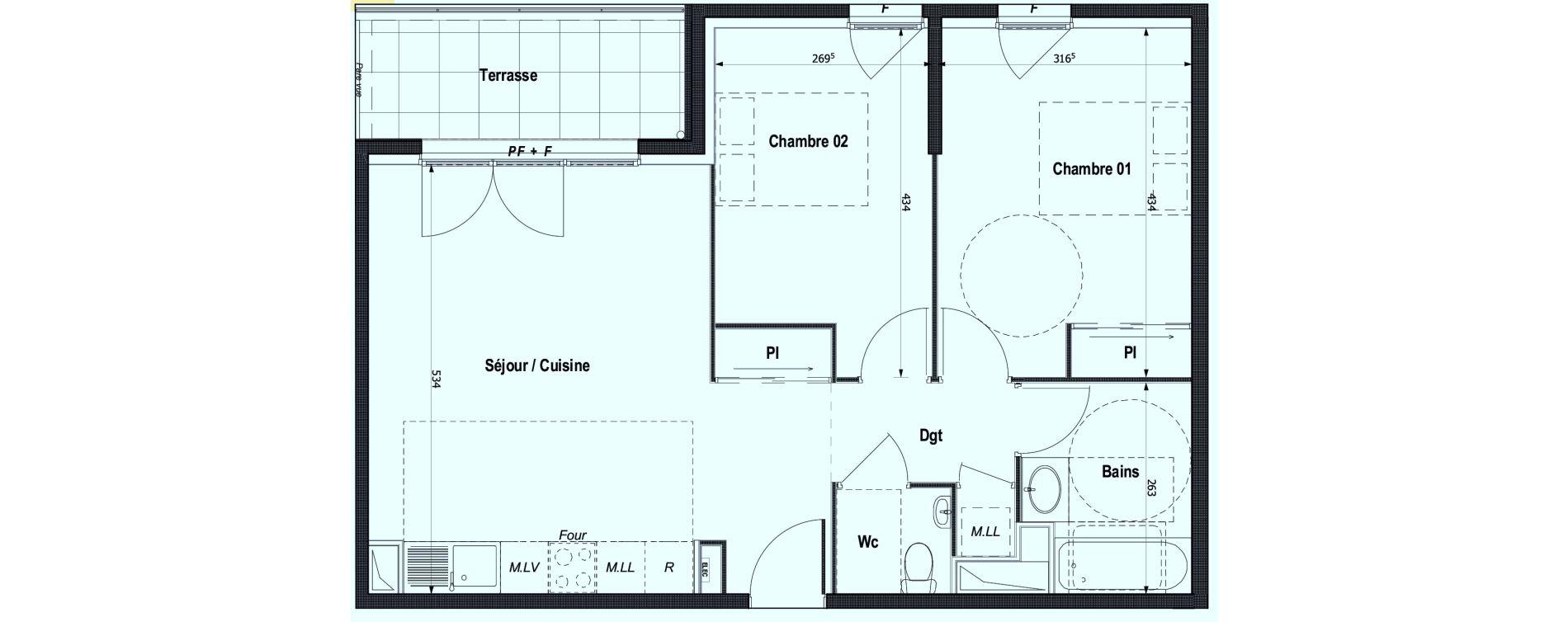 Appartement T3 de 61,55 m2 à Montlignon Centre