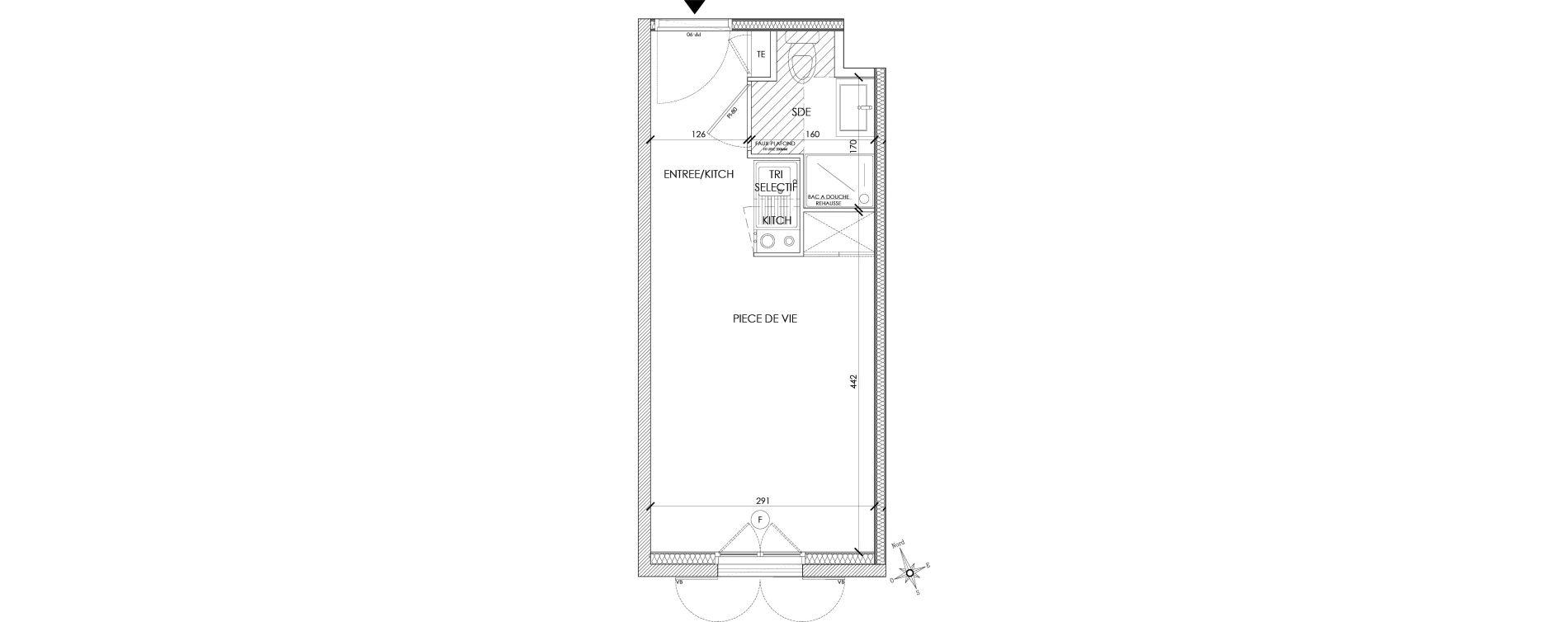Appartement T1 de 18,92 m2 à Pontoise Centre