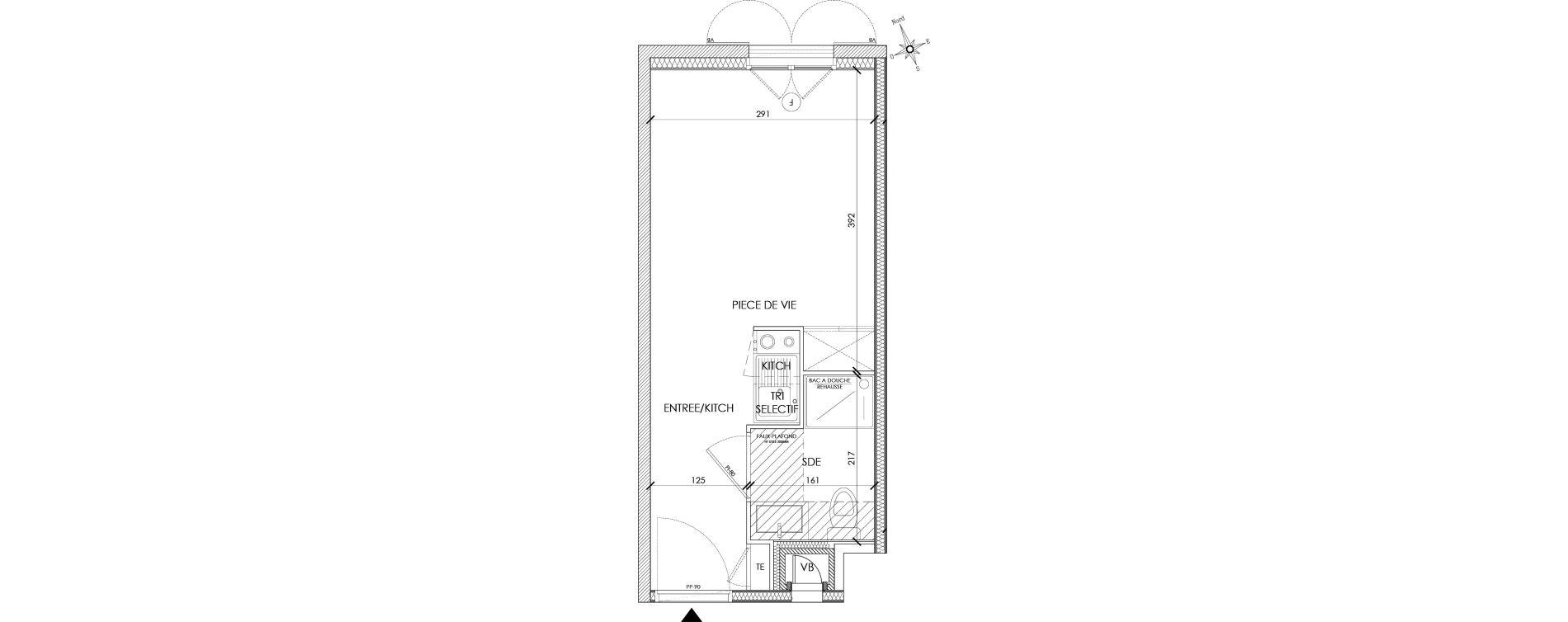 Appartement T1 meublé de 18,37 m2 à Pontoise Centre