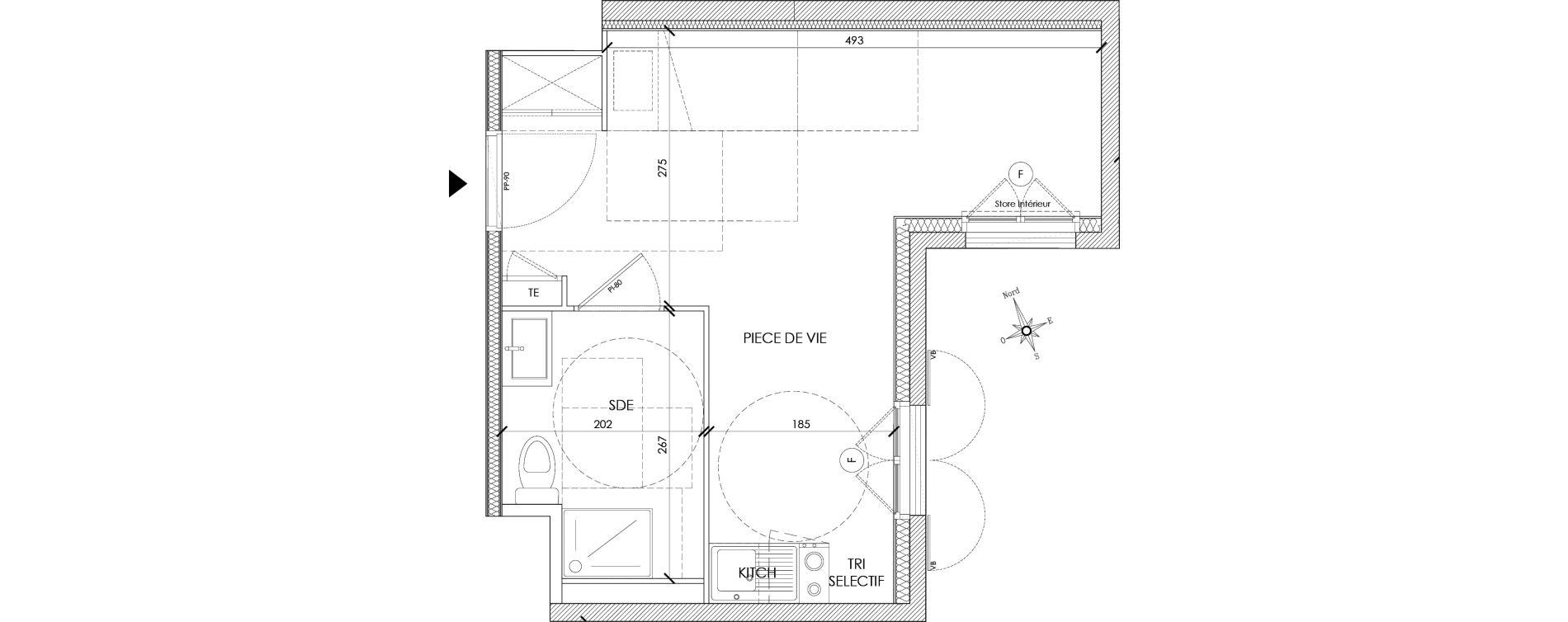 Appartement T1 meublé de 24,53 m2 à Pontoise Centre