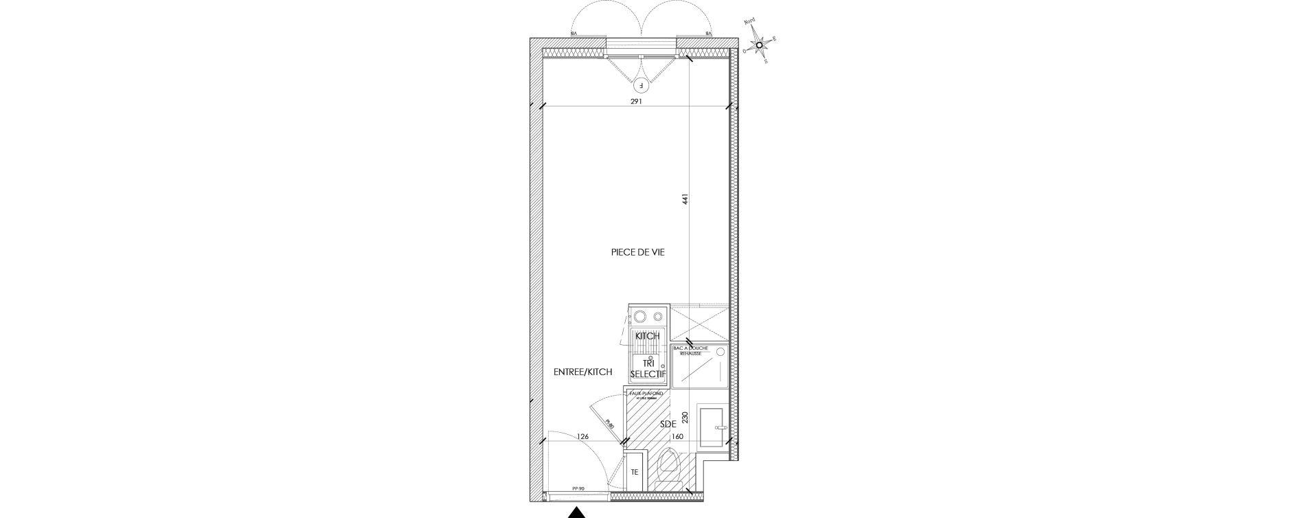 Appartement T1 meublé de 18,90 m2 à Pontoise Centre