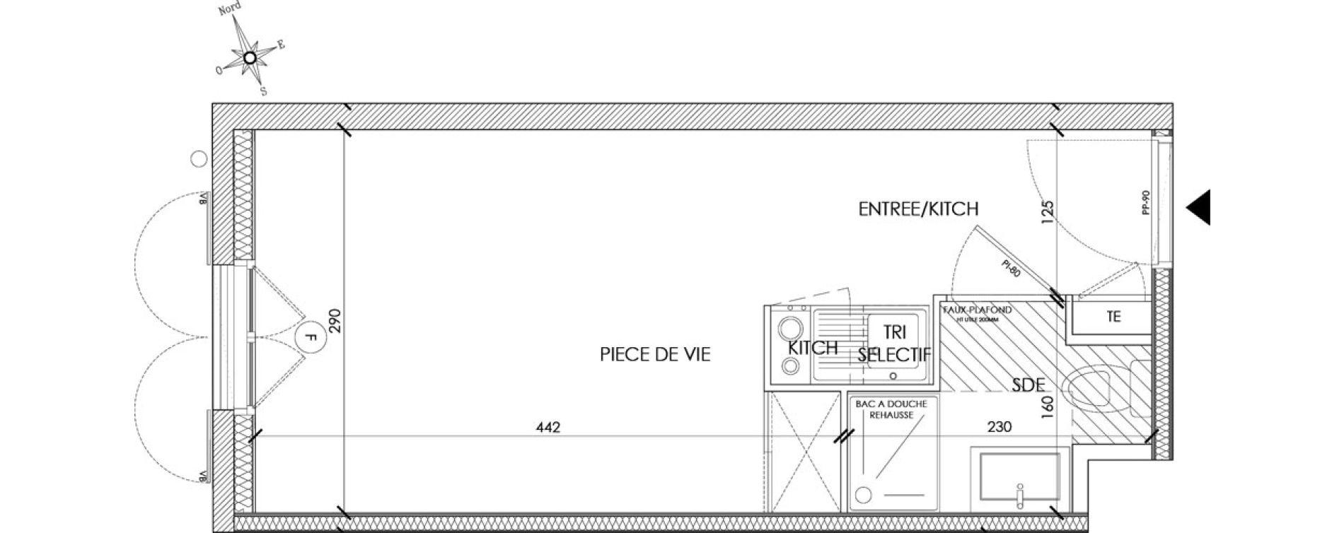 Appartement T1 meublé de 18,87 m2 à Pontoise Centre