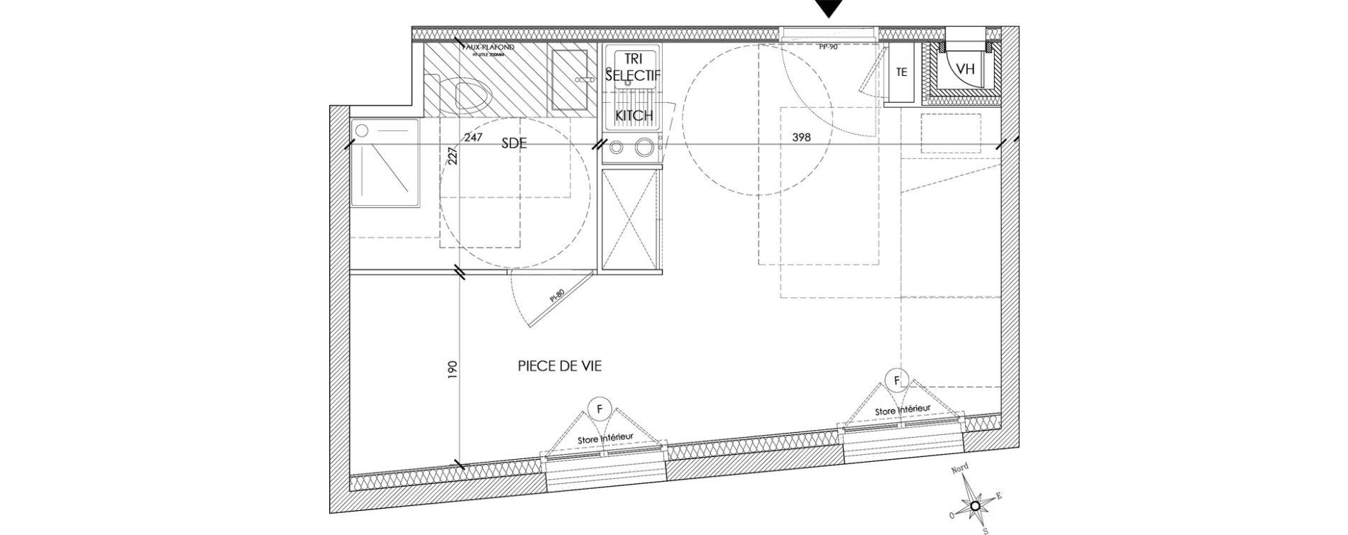 Appartement T1 meublé de 24,45 m2 à Pontoise Centre