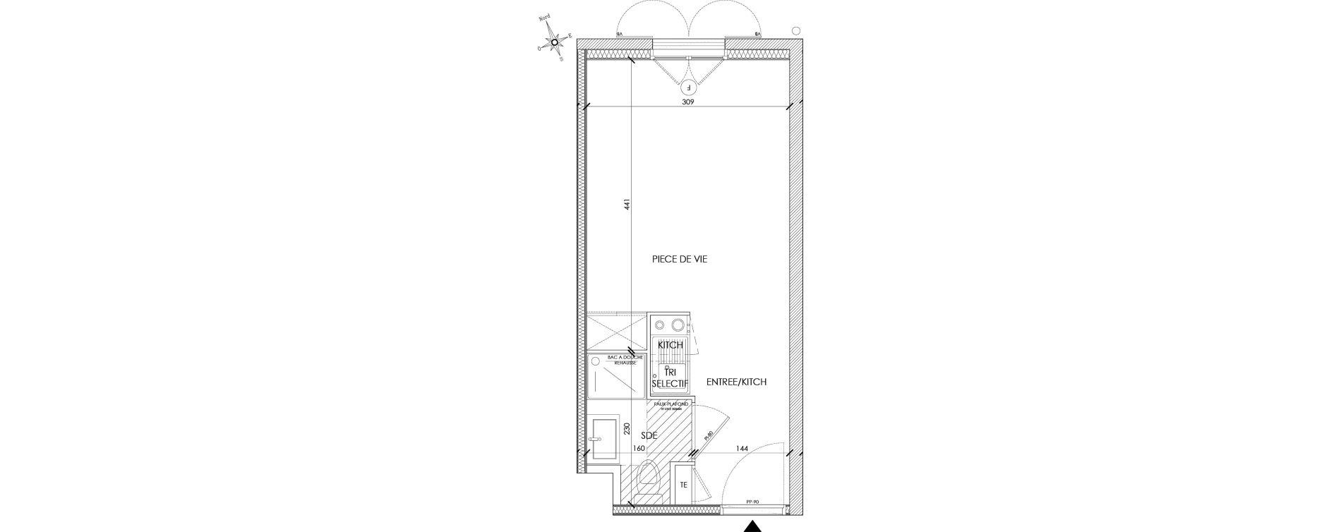 Appartement T1 meublé de 20,11 m2 à Pontoise Centre