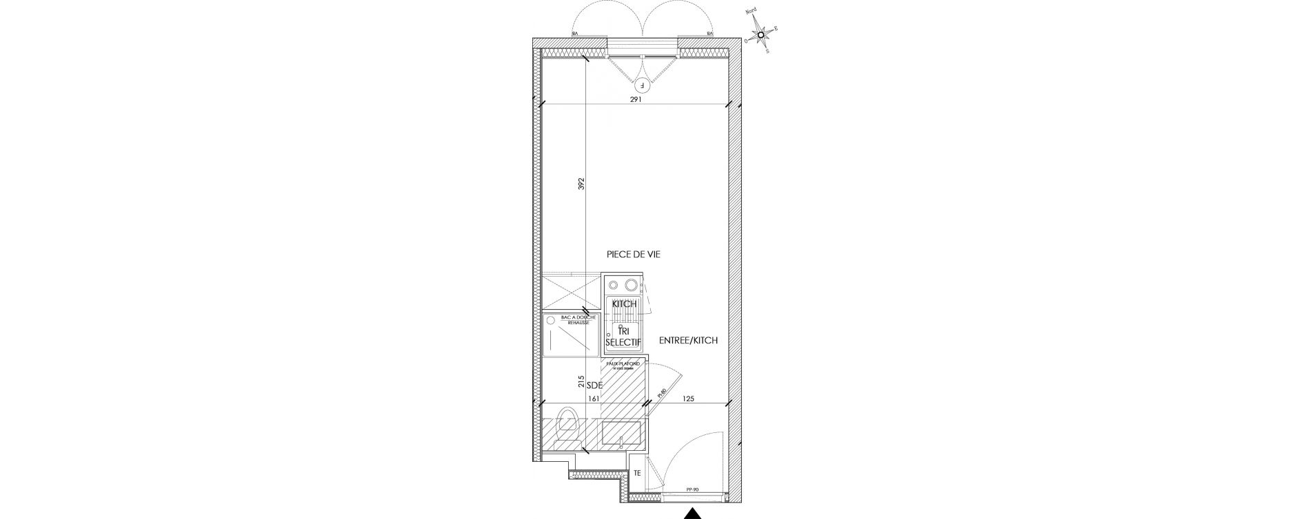 Appartement T1 meublé de 18,36 m2 à Pontoise Centre