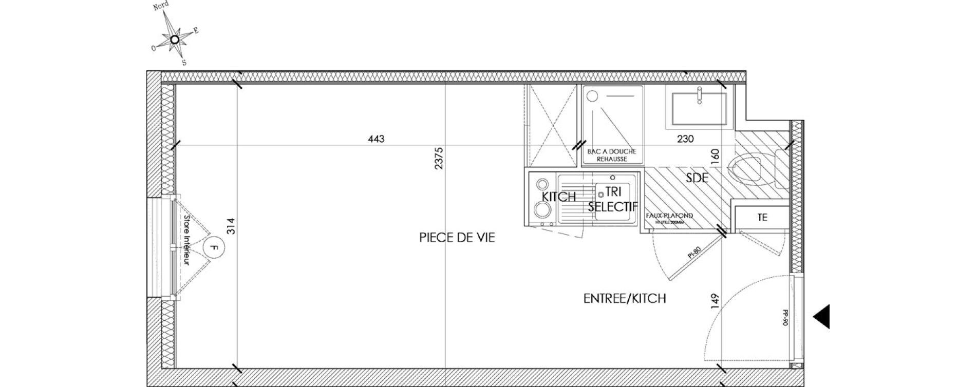 Appartement T1 meublé de 20,54 m2 à Pontoise Centre