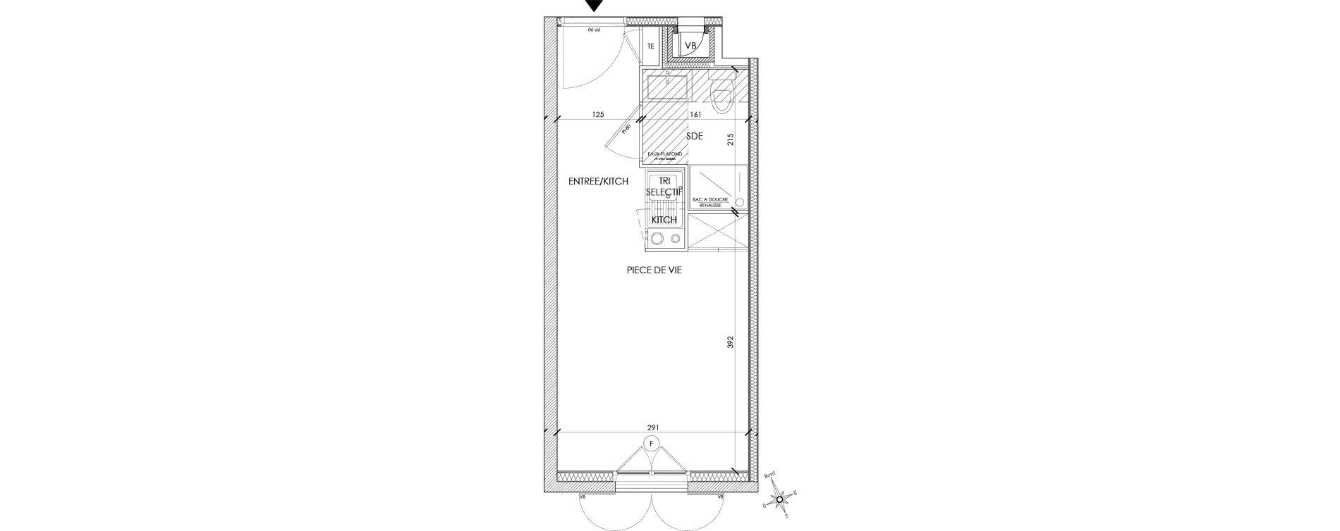 Appartement T1 meublé de 18,38 m2 à Pontoise Centre