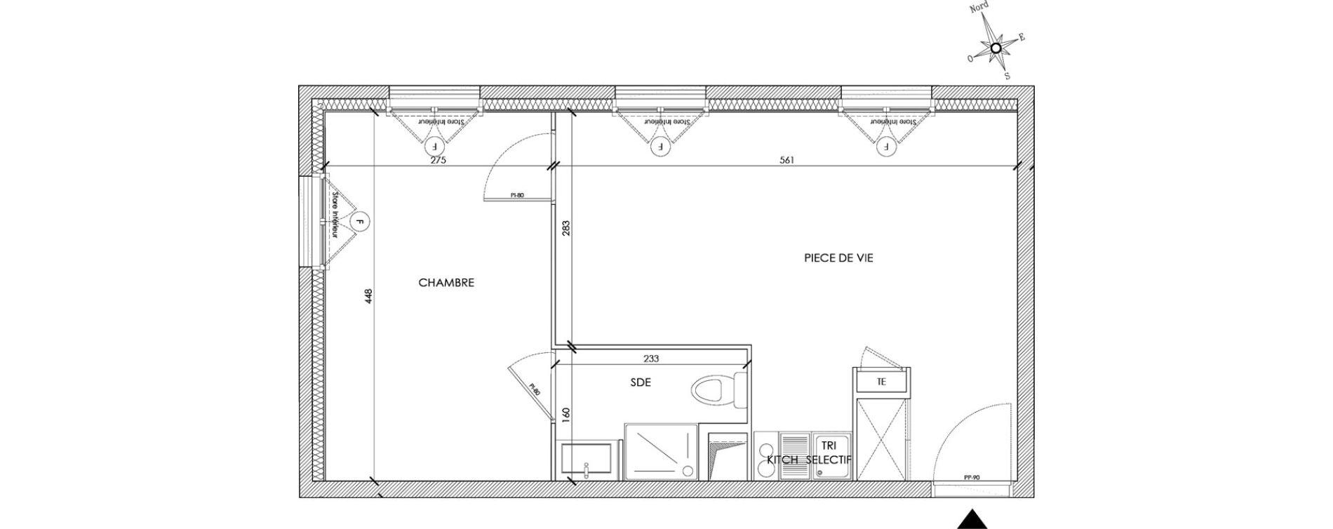 Appartement T2 meublé de 36,43 m2 à Pontoise Centre
