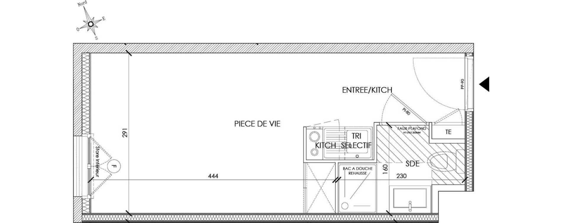 Appartement T1 meublé de 18,98 m2 à Pontoise Centre