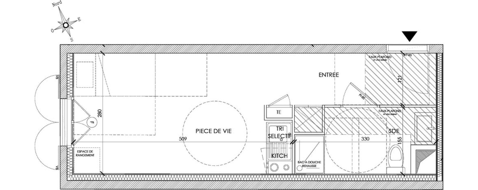 Appartement T1 meublé de 22,73 m2 à Pontoise Centre