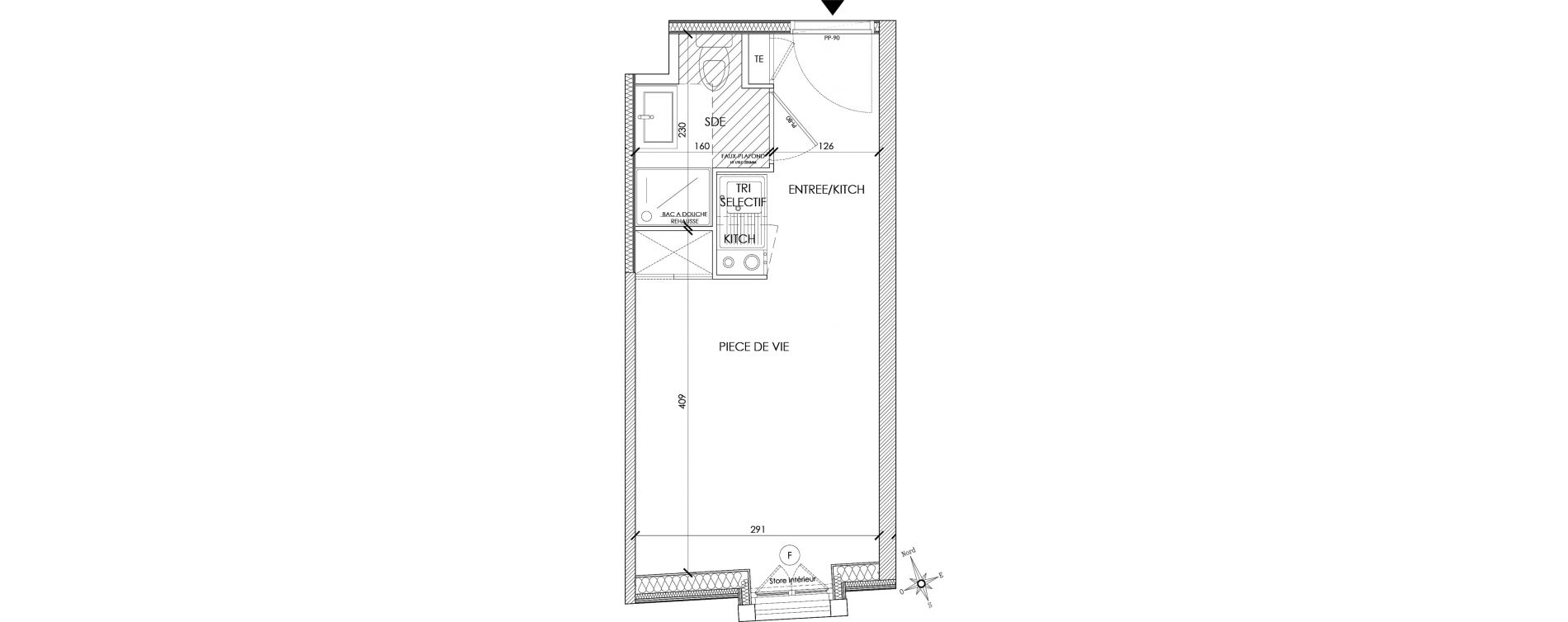 Appartement T1 meublé de 18,09 m2 à Pontoise Centre