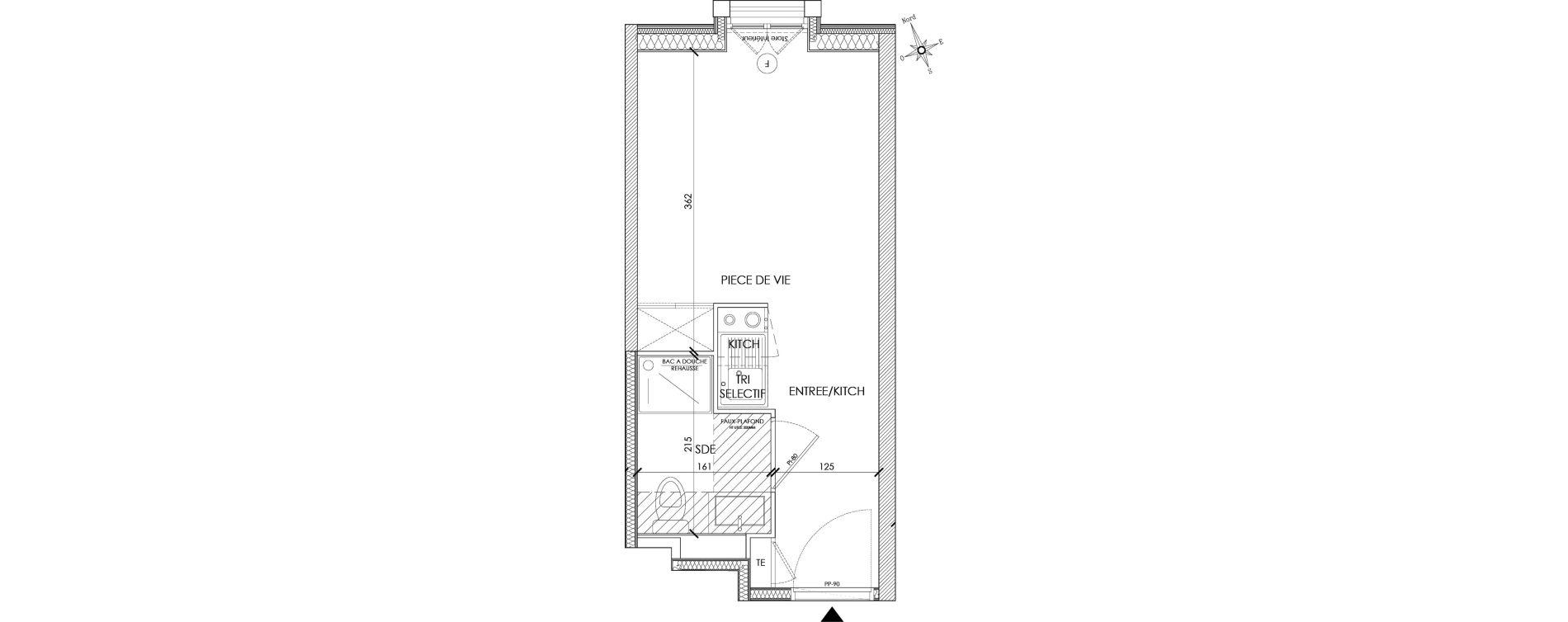 Appartement T1 meublé de 17,76 m2 à Pontoise Centre
