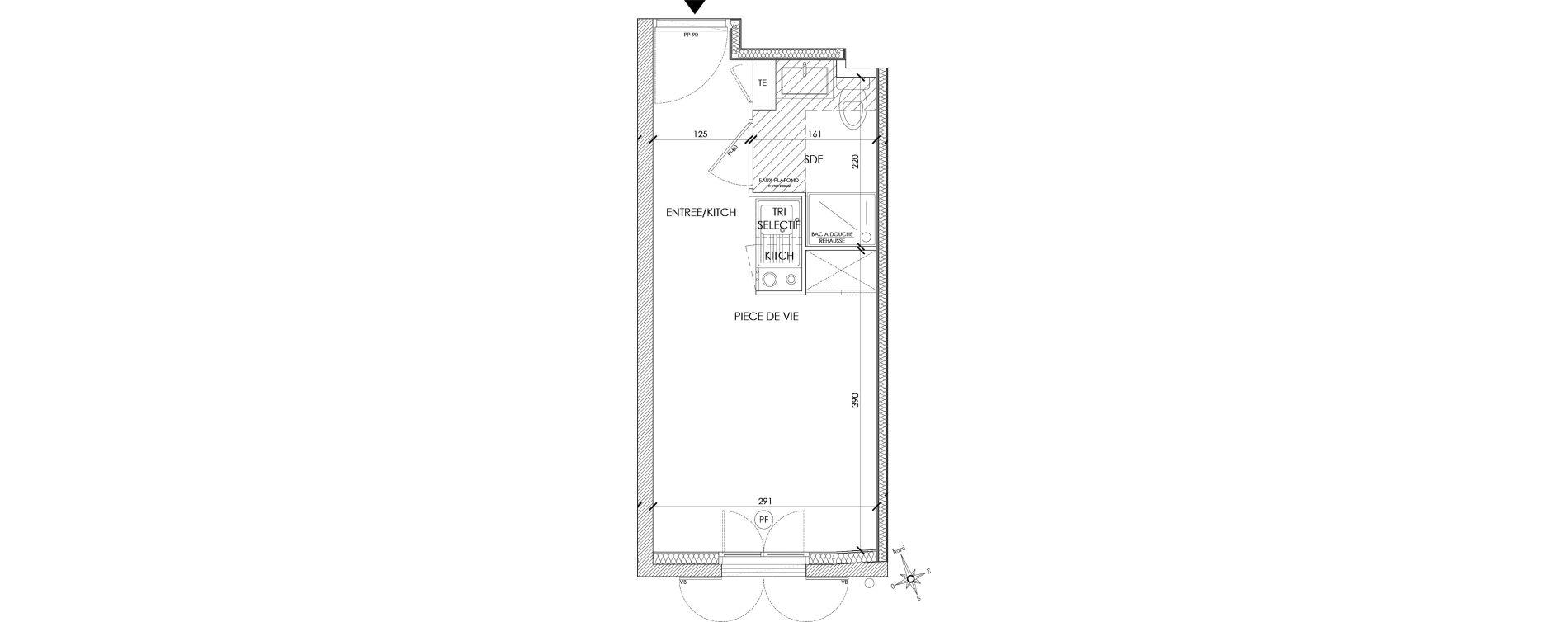 Appartement T1 meublé de 18,41 m2 à Pontoise Centre