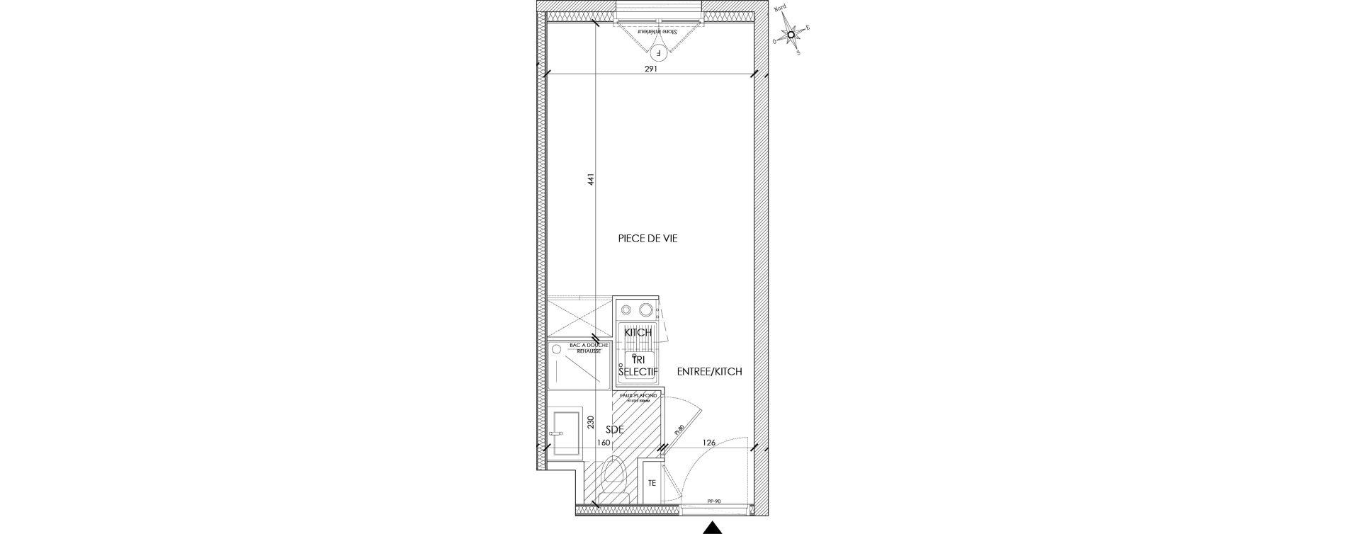 Appartement T1 meublé de 18,89 m2 à Pontoise Centre
