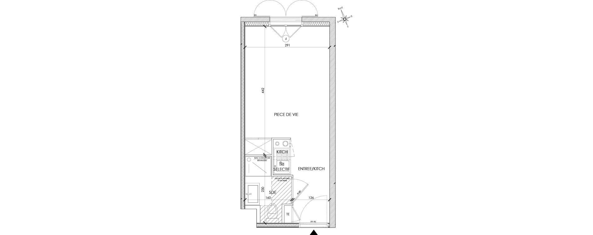 Appartement T1 meublé de 18,91 m2 à Pontoise Centre