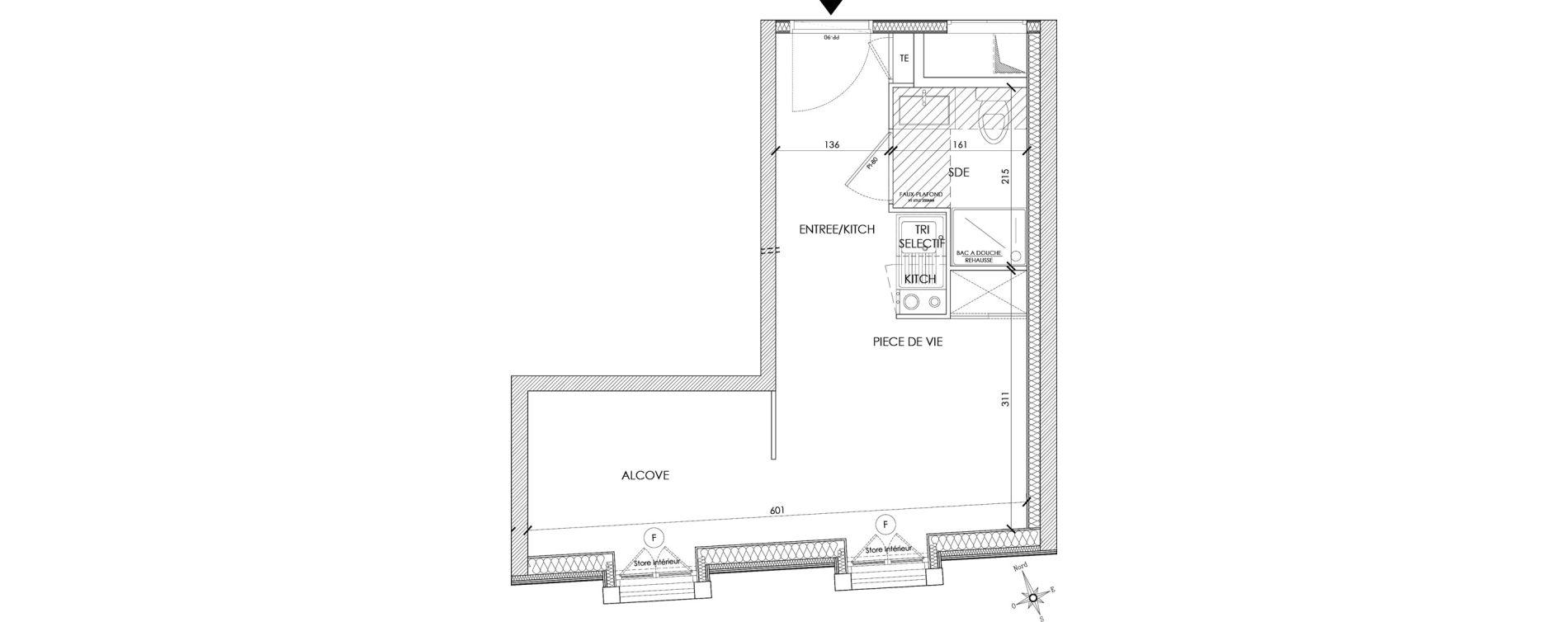 Appartement T1 meublé de 23,10 m2 à Pontoise Centre