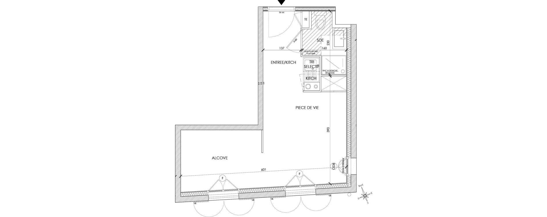 Appartement T1 bis meublé de 24,67 m2 à Pontoise Centre