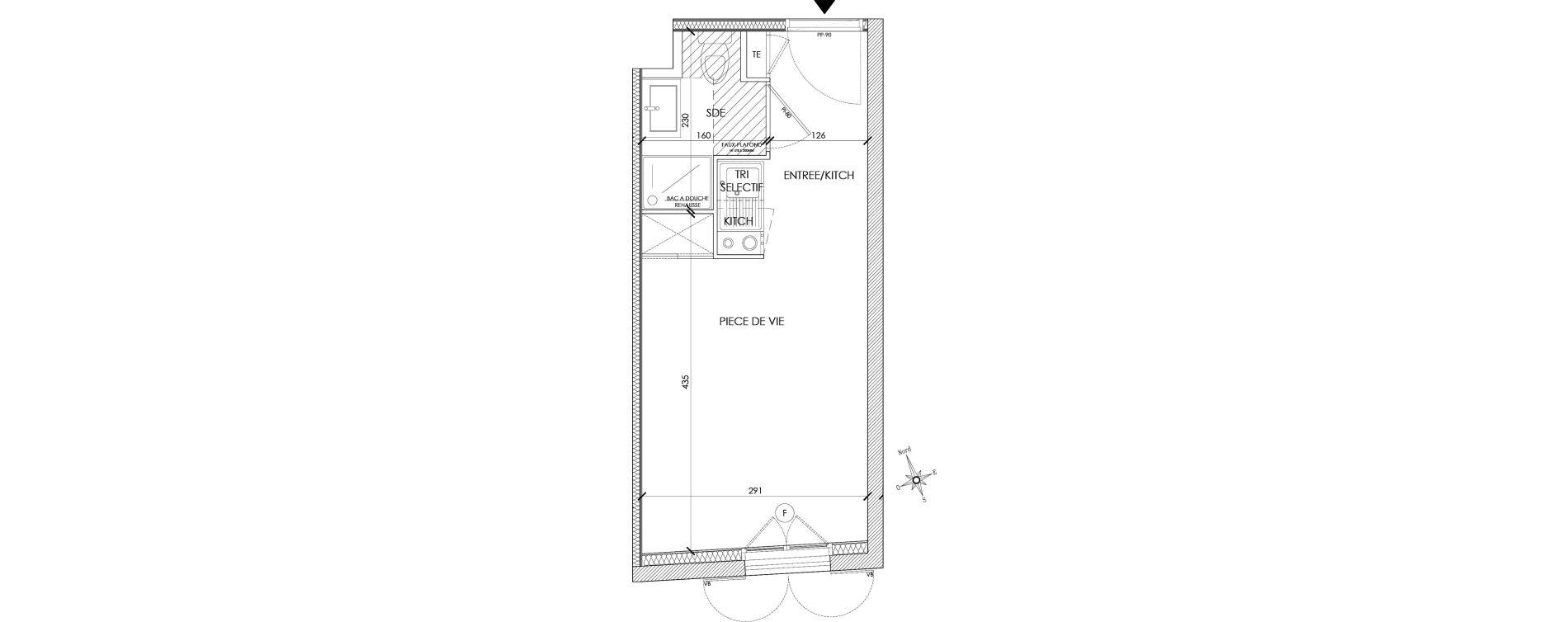 Appartement T1 meublé de 18,57 m2 à Pontoise Centre
