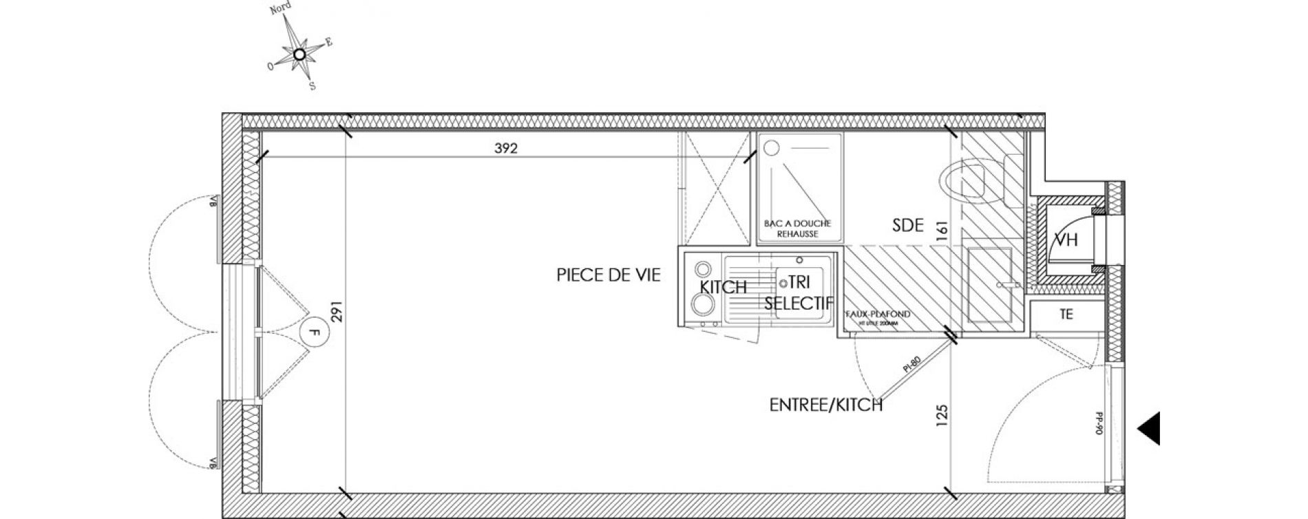 Appartement T1 meublé de 18,39 m2 à Pontoise Centre