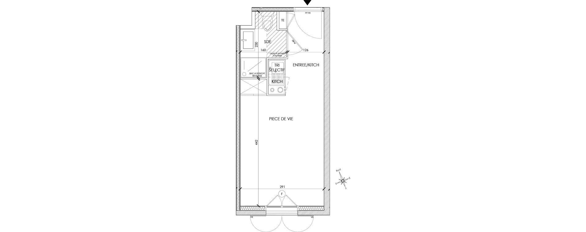 Appartement T1 meublé de 18,92 m2 à Pontoise Centre