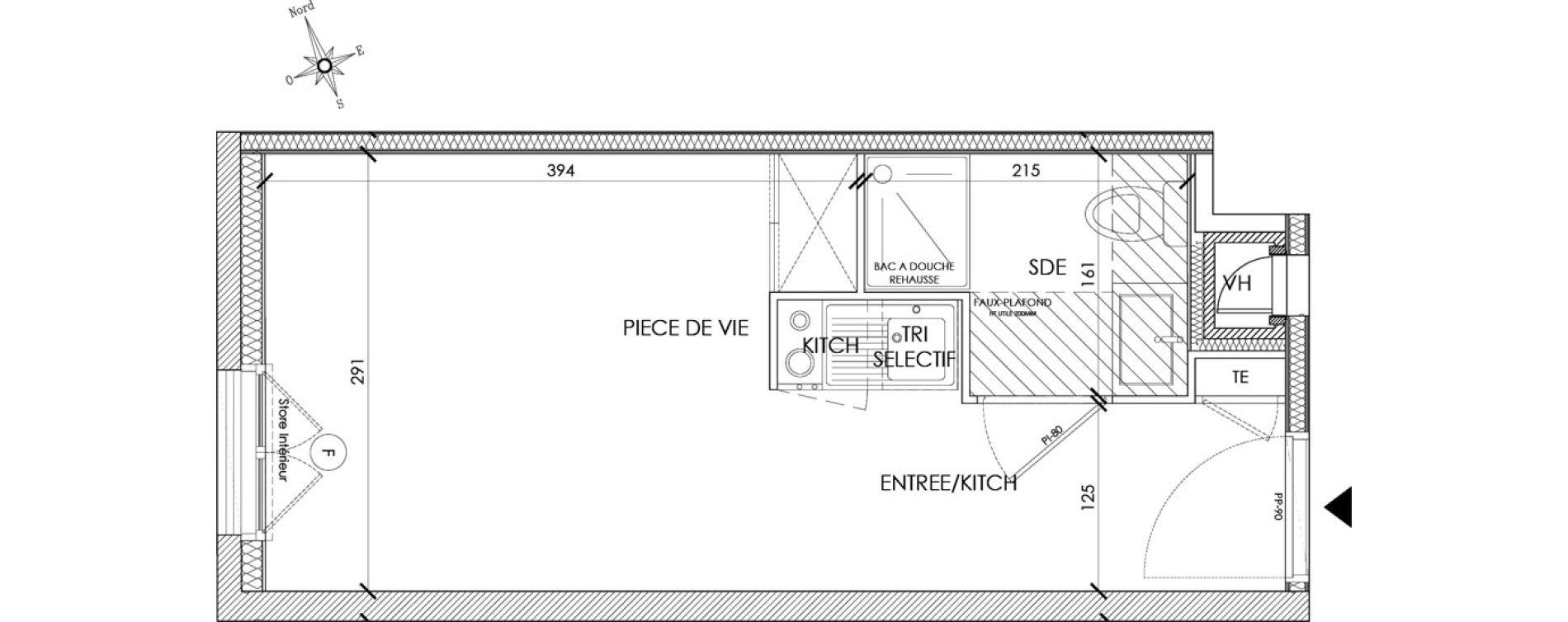 Appartement T1 meublé de 18,42 m2 à Pontoise Centre