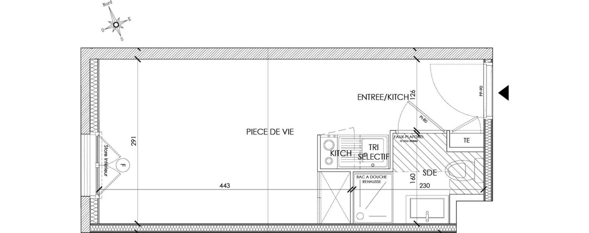 Appartement T1 meublé de 18,96 m2 à Pontoise Centre