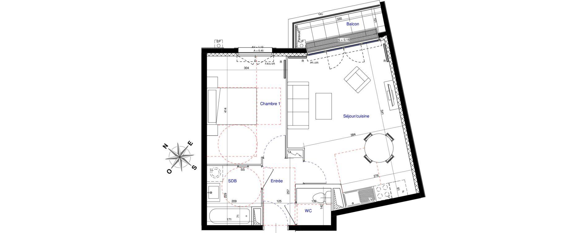 Appartement T2 de 45,62 m2 à Saint-Leu-La-Forêt Centre