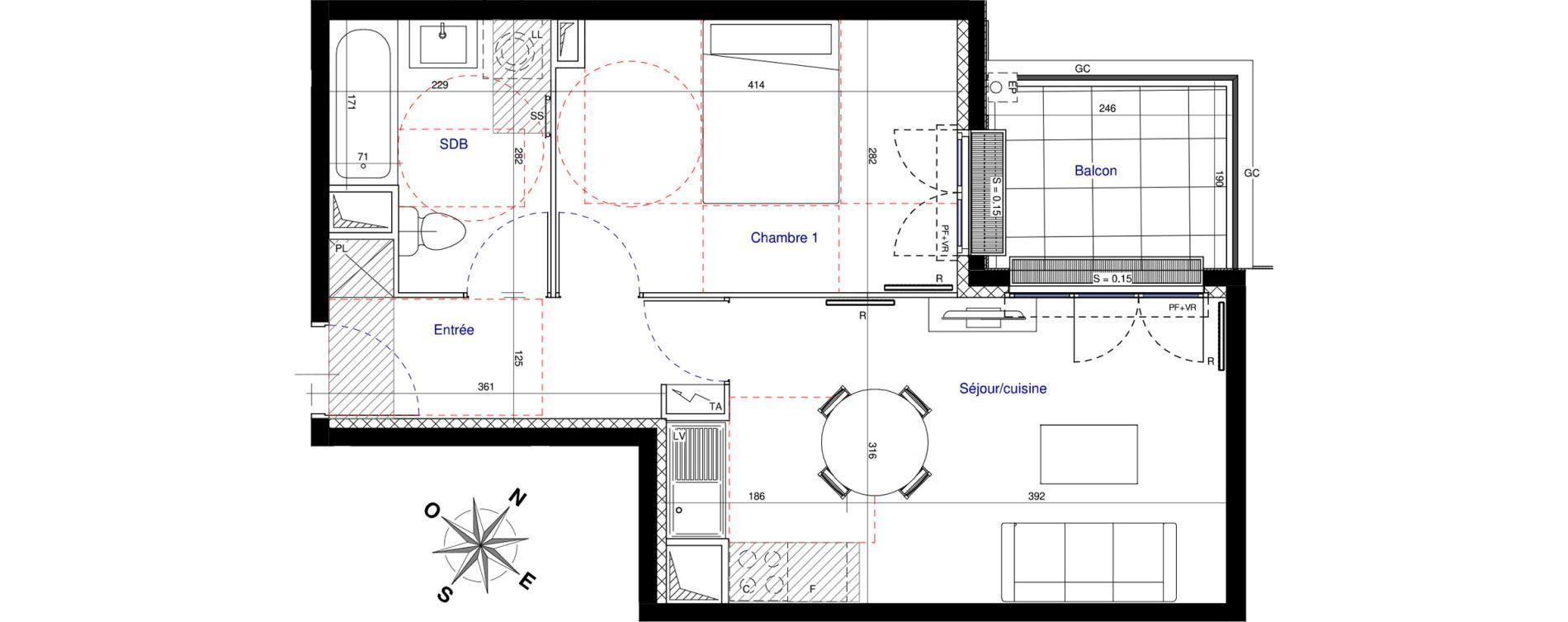 Appartement T2 de 39,37 m2 à Saint-Leu-La-Forêt Centre