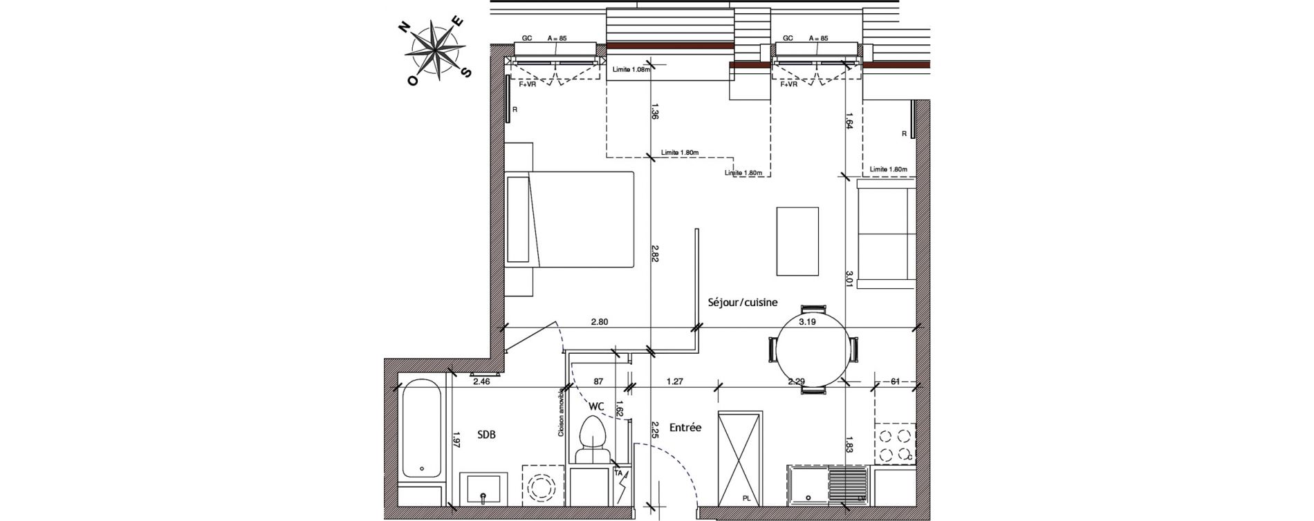Appartement T1 de 35,73 m2 à Saint-Leu-La-Forêt Centre