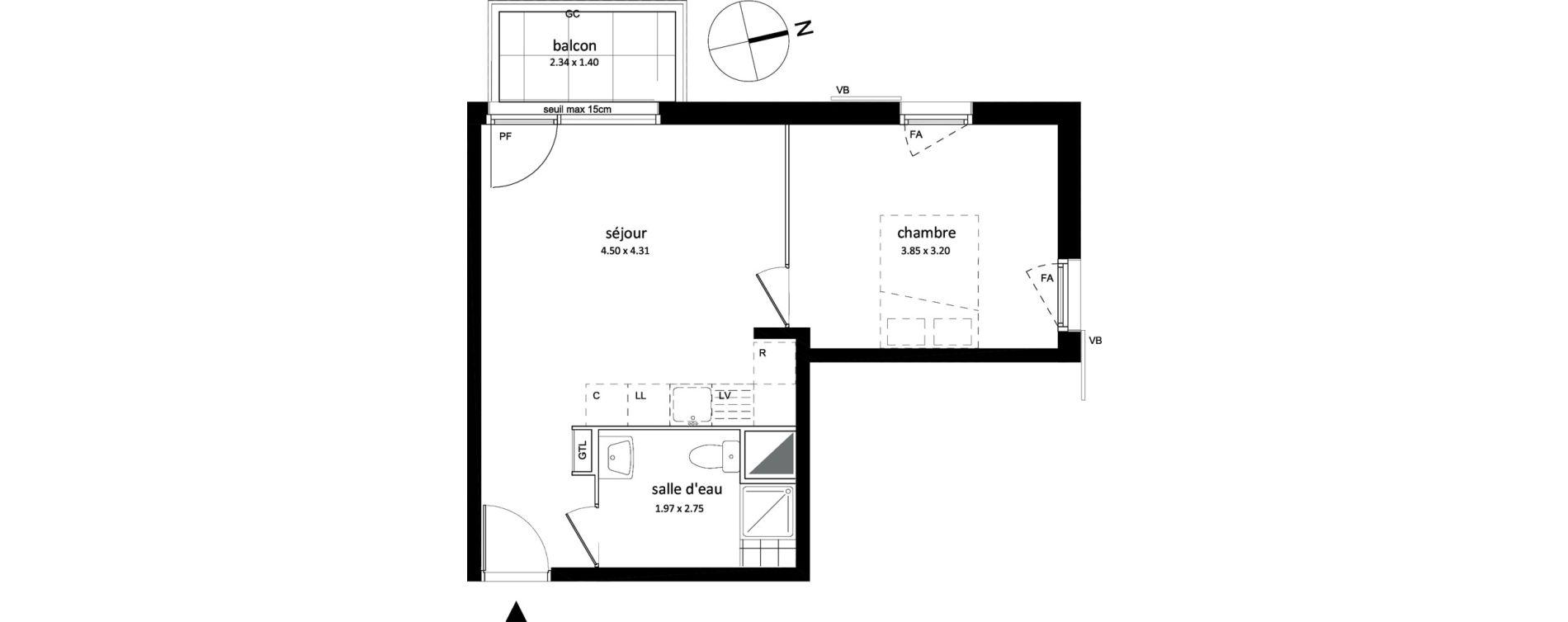 Appartement T2 de 39,10 m2 à Sarcelles Centre