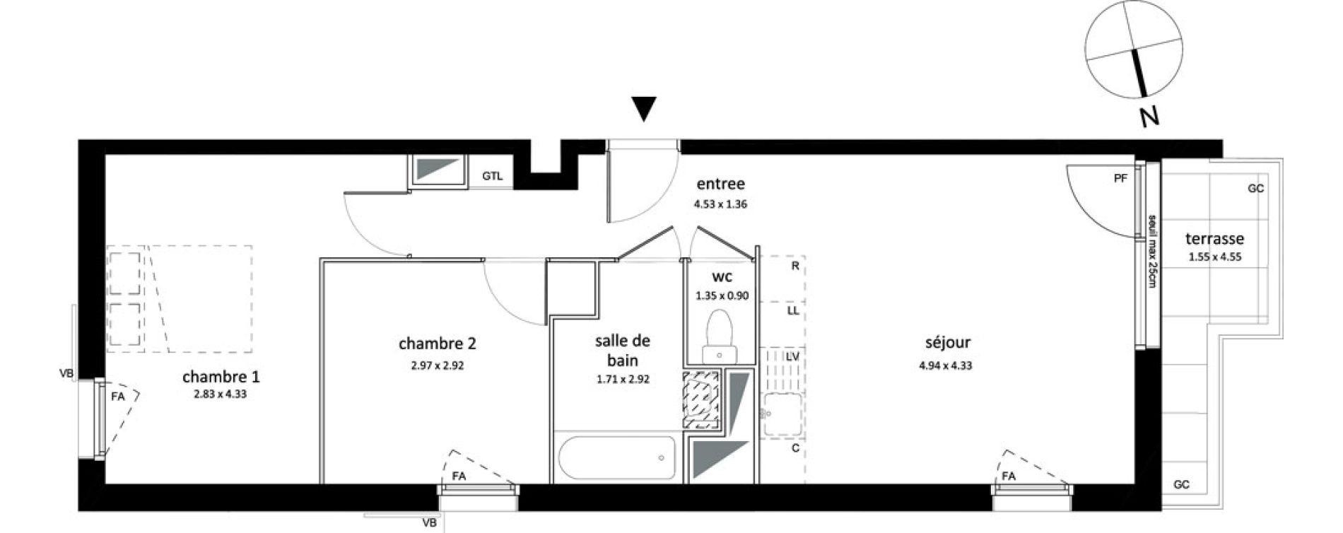 Appartement T3 de 55,73 m2 à Sarcelles Centre