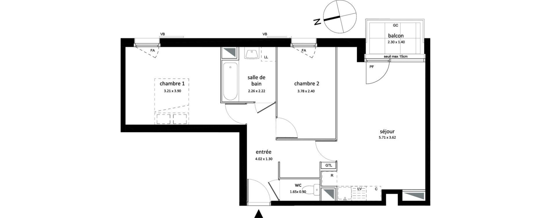 Appartement T3 de 57,67 m2 à Sarcelles Centre