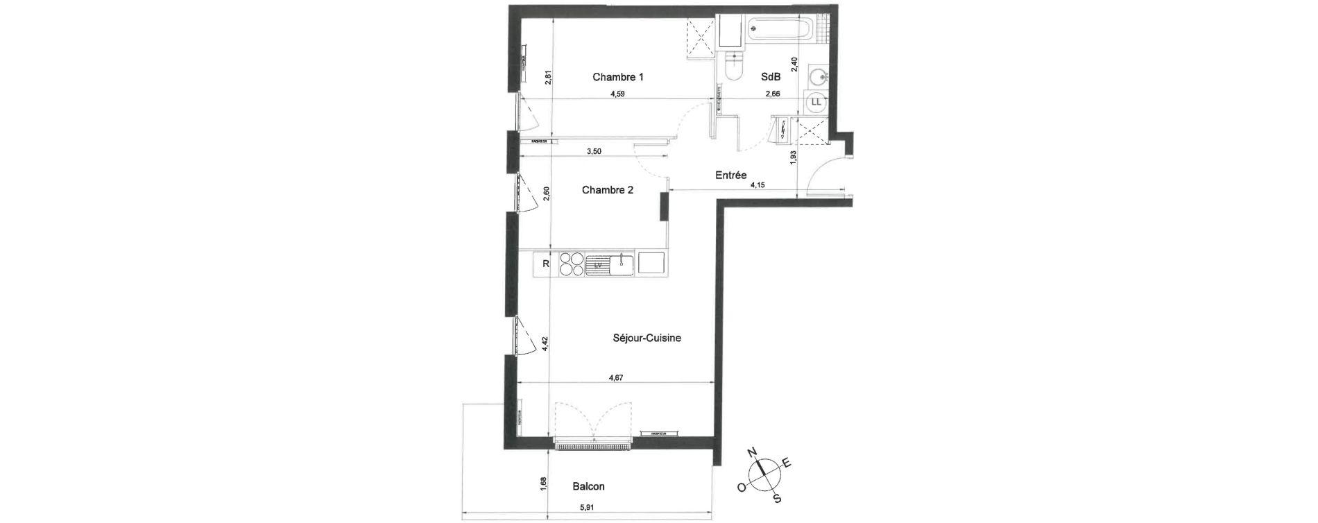 Appartement T3 de 56,10 m2 à Villiers-Le-Bel Centre