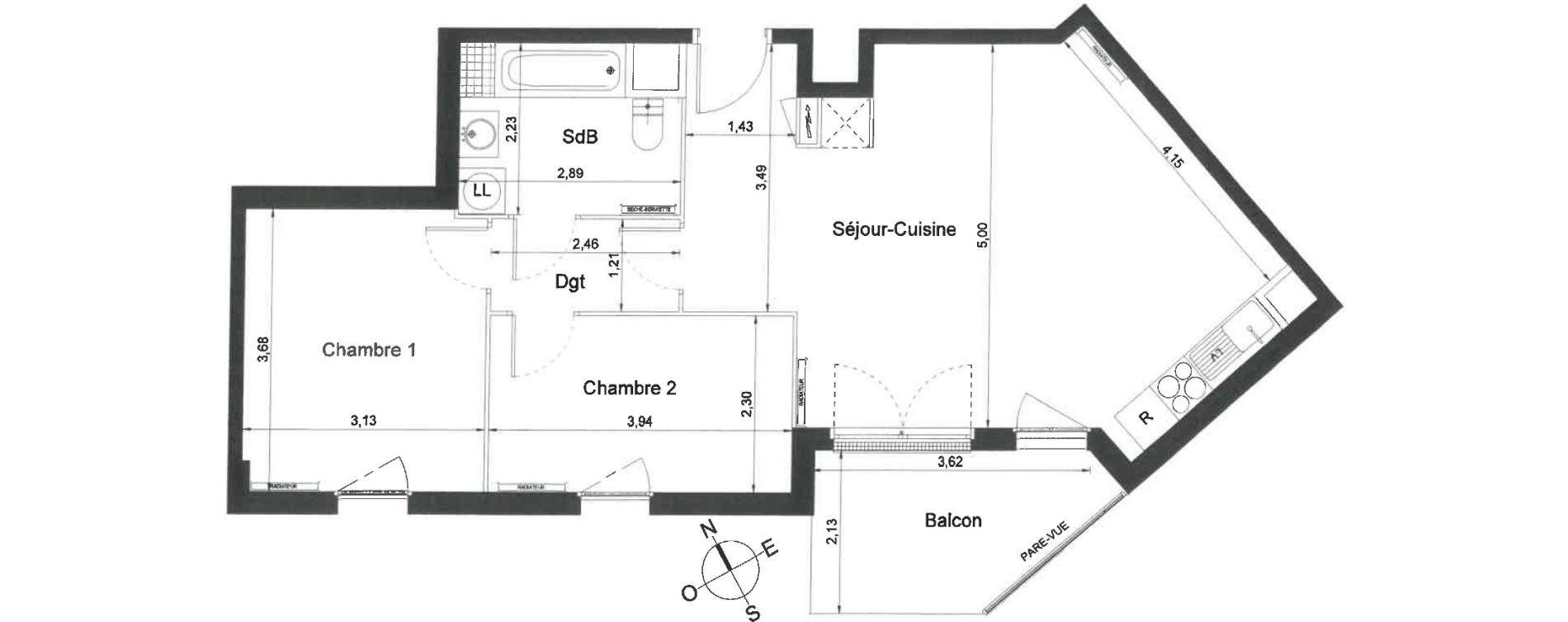 Appartement T3 de 61,10 m2 à Villiers-Le-Bel Centre