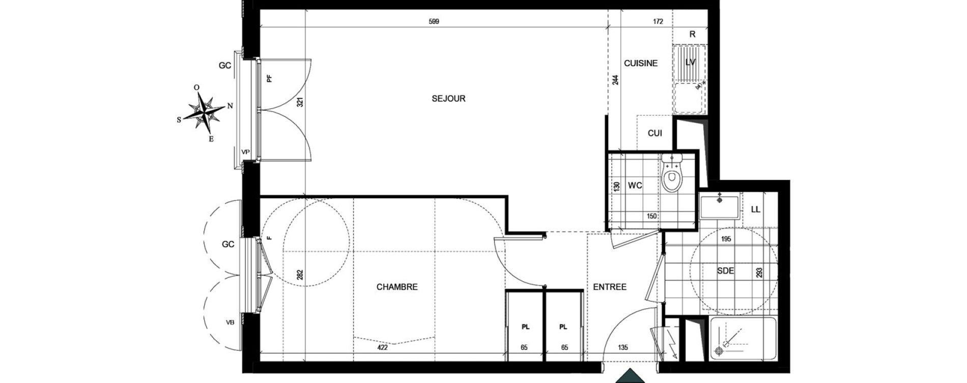 Appartement T2 de 48,45 m2 à Villiers-Le-Bel Village - val roger