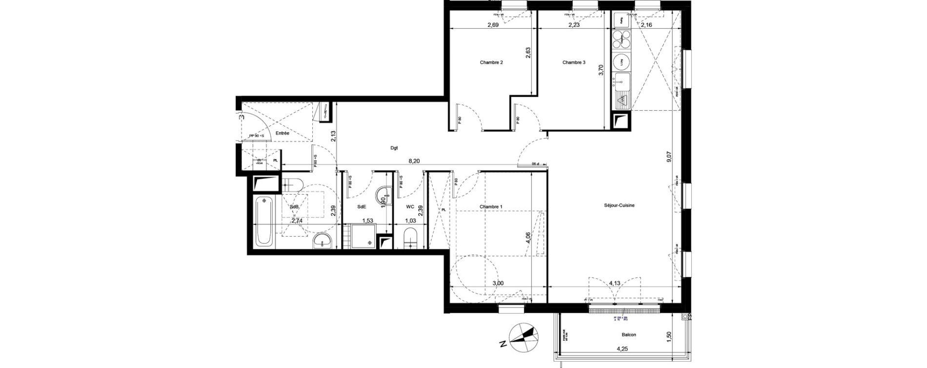 Appartement T4 de 90,35 m2 à Villiers-Le-Bel Centre