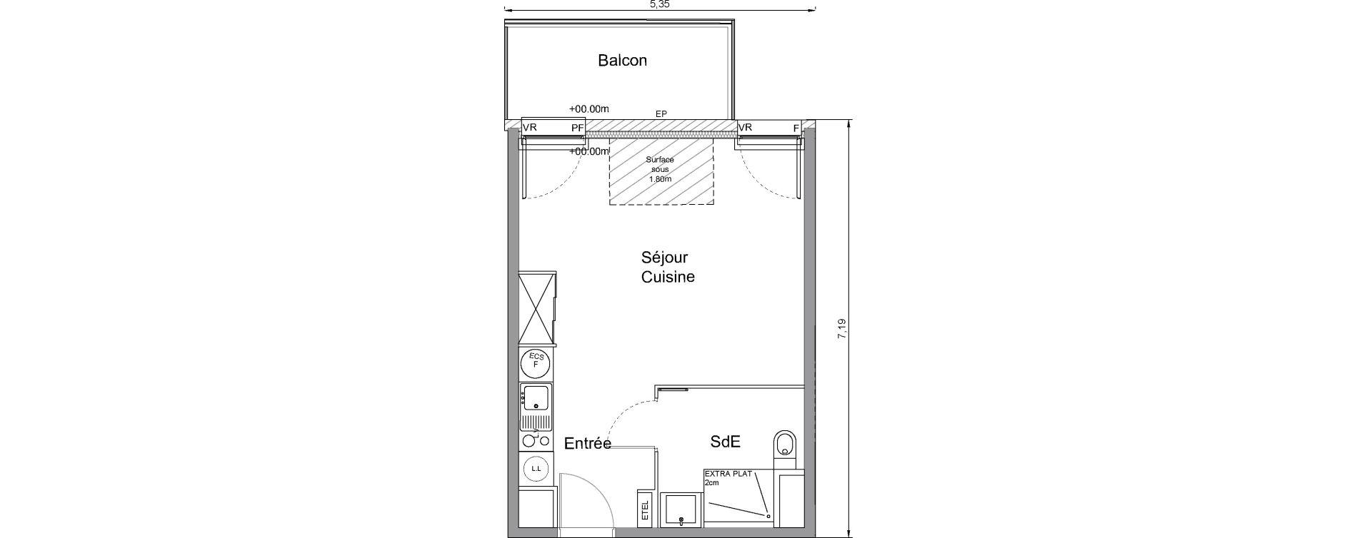 Appartement T1 de 29,50 m2 à Bonnières-Sur-Seine Centre