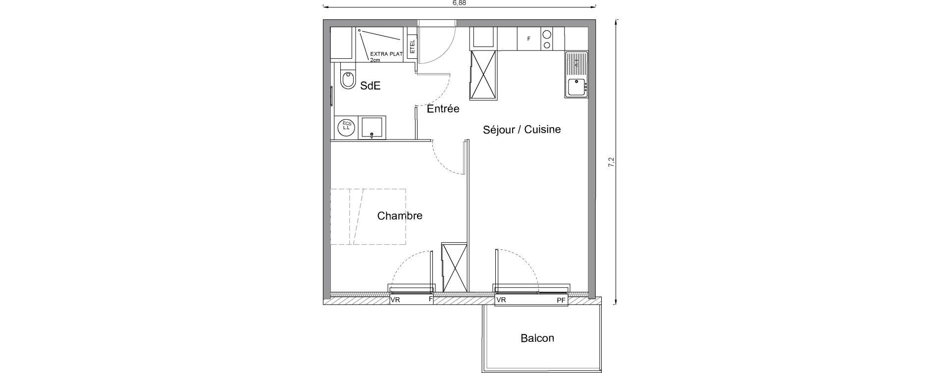 Appartement T2 de 42,00 m2 à Bonnières-Sur-Seine Centre