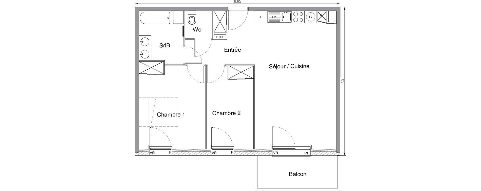 Appartement T3 de 62,60 m2 à Bonnières-Sur-Seine Centre