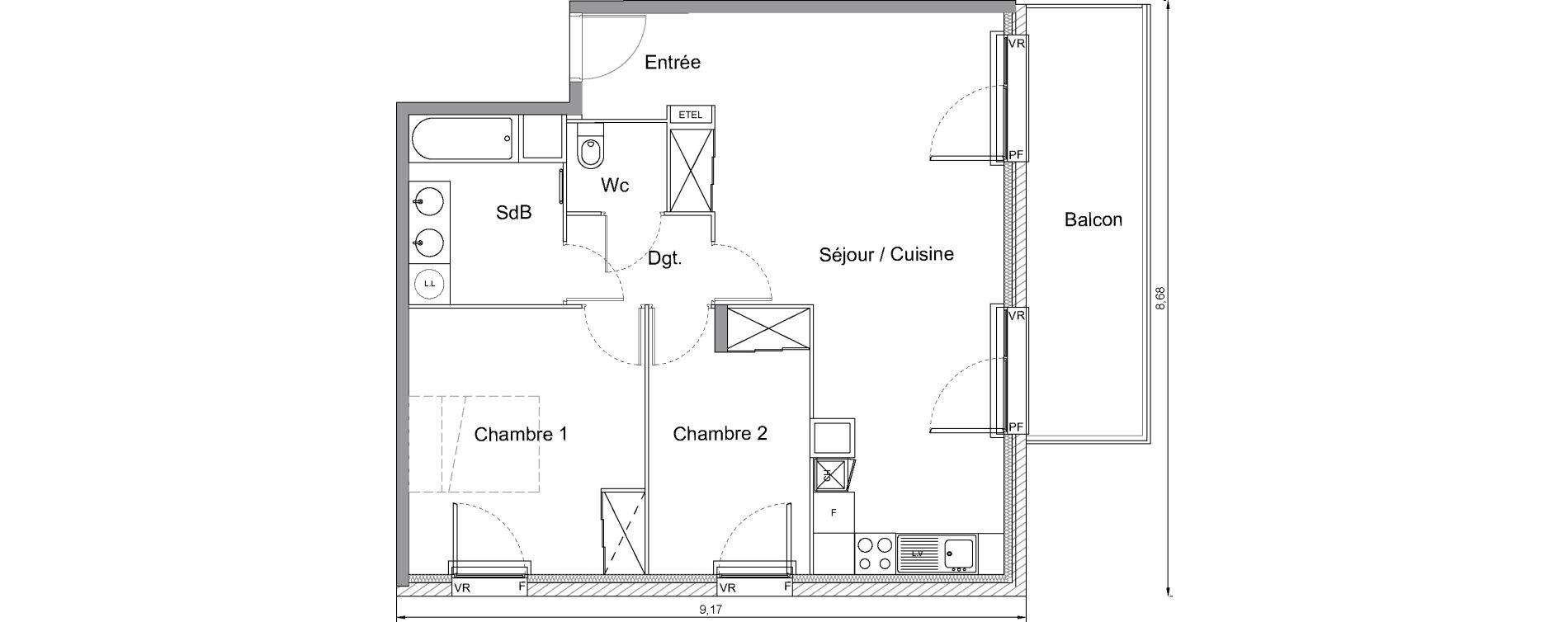 Appartement T3 de 65,00 m2 à Bonnières-Sur-Seine Centre