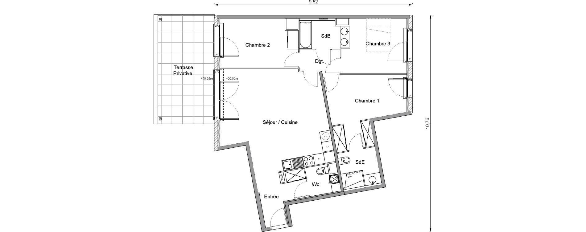 Appartement T4 de 90,70 m2 à Bonnières-Sur-Seine Centre