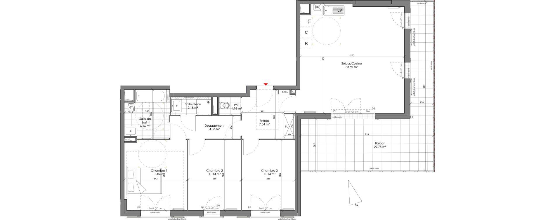 Appartement T4 de 90,83 m2 à Chambourcy Centre