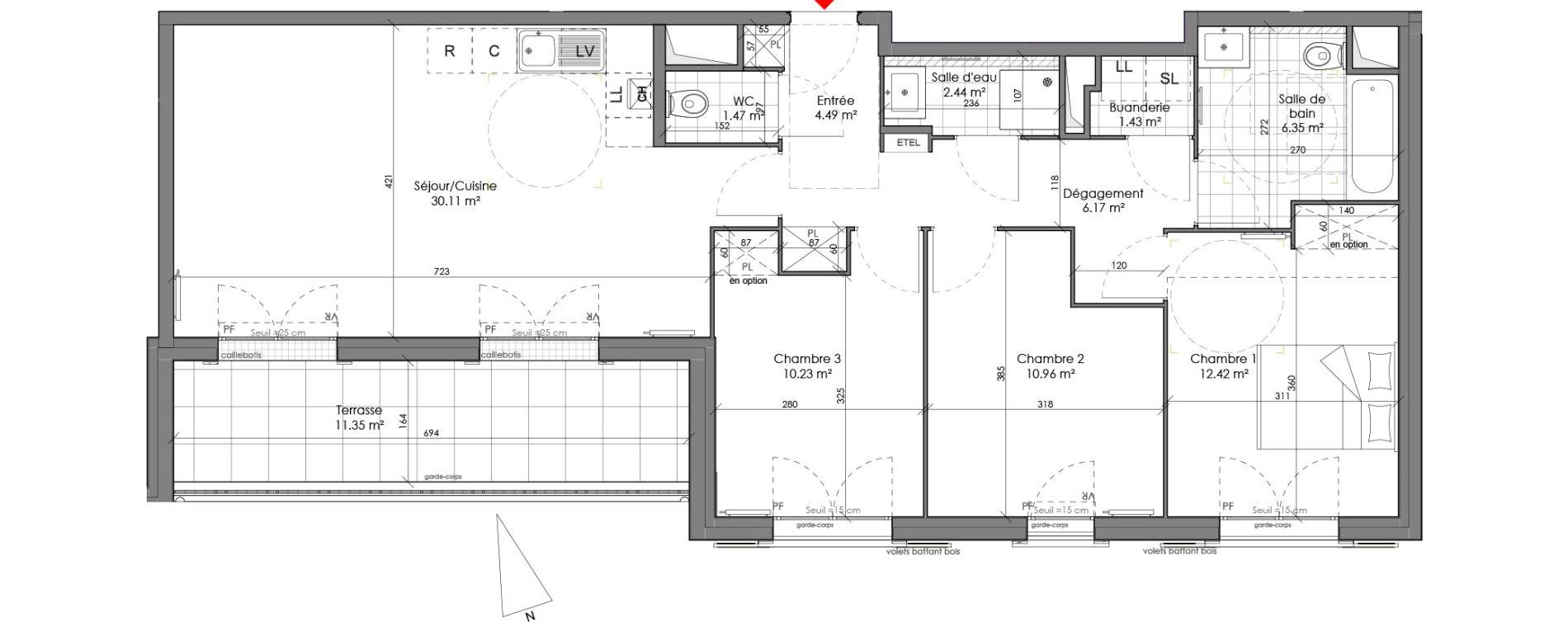 Appartement T4 de 86,08 m2 à Chambourcy Centre