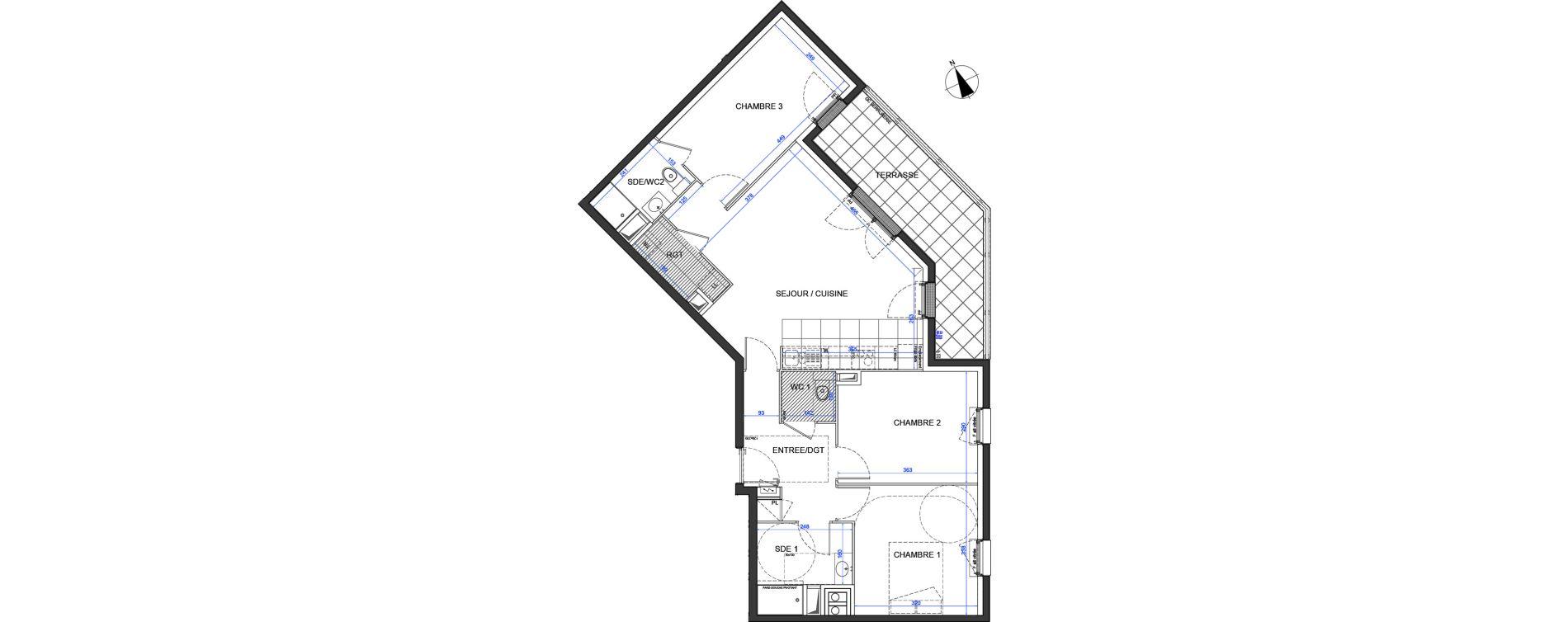 Appartement T4 de 77,50 m2 à Élancourt Clef de saint-pierre