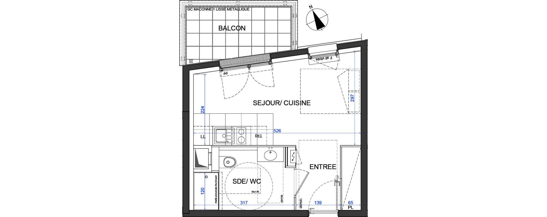 Appartement T1 de 23,60 m2 à Élancourt Clef de saint-pierre