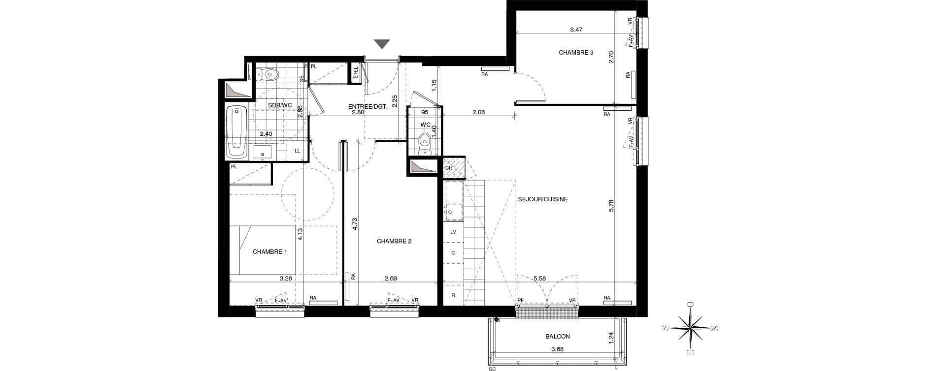 Appartement T4 de 84,19 m2 à Guyancourt Pont du routoir