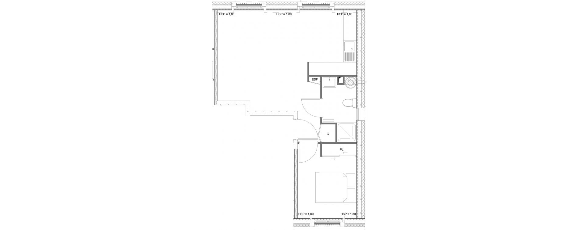 Appartement T2 de 40,48 m2 à Hardricourt Centre