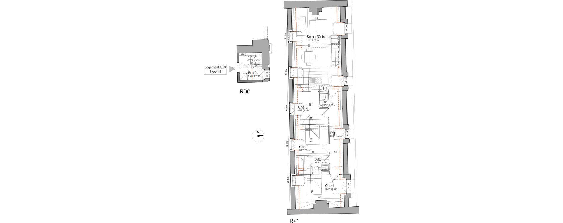 Duplex T4 de 79,19 m2 à Jouars-Pontchartrain Centre