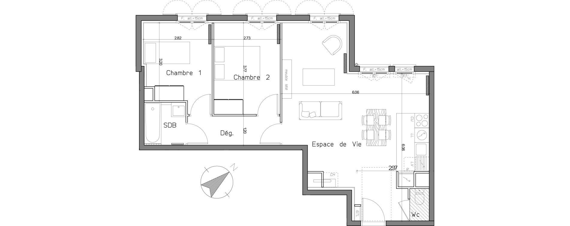 Appartement T3 de 62,01 m2 au Mesnil-Le-Roi Centre